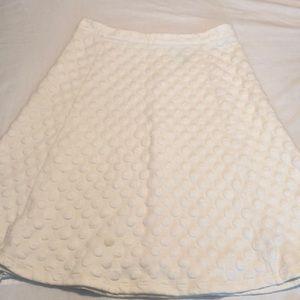 Anthropologie, white circle fabric skirt